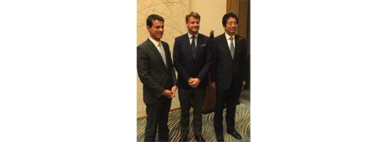 Hugues Lechanoine, Manuel Valls, Abe, delegation française Japon