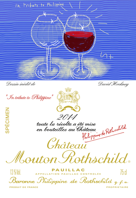 Etiquette label Chateau Mouton Rothschild 2014 David Hockney