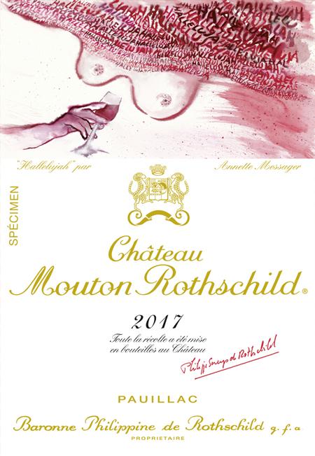 Etiquette de Château Mouton Rothschild 2017 par Annette Messager