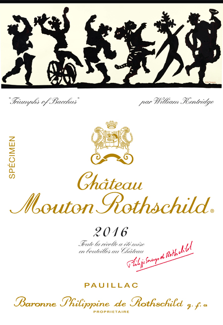 Chateau Mouotn Rothschild label 2016 William Kentridge
