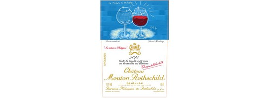Etiquette de Château Mouton Rothschild 2014 par David Hockney